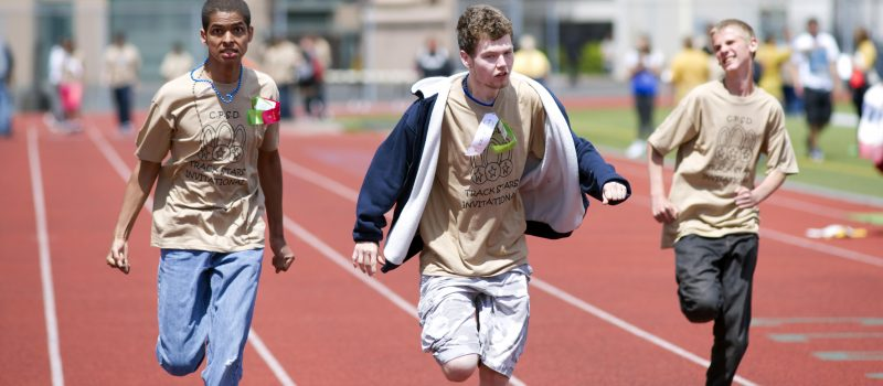 Students run a sprint race at Harry E Lang Stadium Lakewood Washington